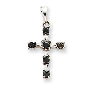 14k White Gold Black & White Diamond Cross Pendant Jewelry