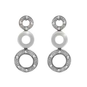 9ct White Gold Round Cut Diamond Long Drop Earrings Jewelry