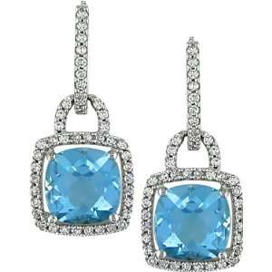 14K White Gold, Diamond and Blue Topaz Drop Earrings, (.5