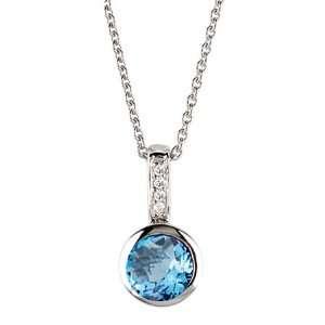 Sapphire Blue Topaz Diamond Pendant Necklace Jewelry
