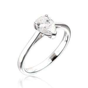 Pear Shape Diamond Solitaire Engagement Ring in 18ct White Gold, Ring