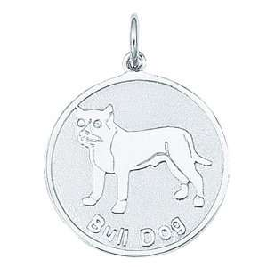 Sterling Silver BULL DOG ROUND DISC Charm Jewelry