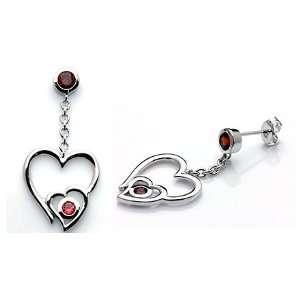 Round Cut Garnet Dangling Earrings Sterling Silver Jewelry