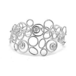 14 Karat white gold matte finished cuff bracelet, accented