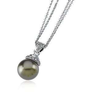 Freshwater Pearl And Diamond Necklace In 14 Karat White Gold Jewelry