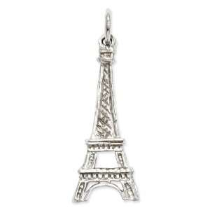 14k Gold White Gold Solid Polished Eiffel Tower Charm Jewelry