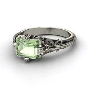 Acadia Ring, Emerald Cut Green Amethyst 14K White Gold Ring Jewelry