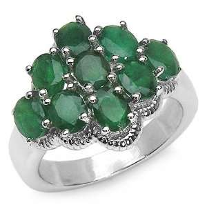 3.15 Carat Genuine Emerald Sterling Silver Ring Jewelry