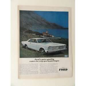 1966 Ford Galaxie 500 XL. full page print ad(blue car/bay