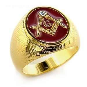 Mens Jewelry   Red Masonic Gold Ring SZ 8 Jewelry