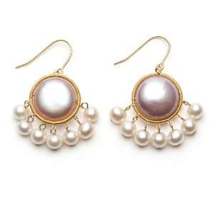 Freshwater Coin Pearl Dangle Earrings with White Freshwater Pearl