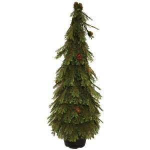 Topiary Green Tree with Cedar Mini Pine Cones, 30 Inch