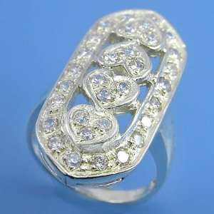 8.40 grams 925 Sterling Silver Gemstones Hearts Ring size