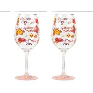 Love My Party Birthday Girl 16 Ounce Acrylic Wine Glasses, Set of 2