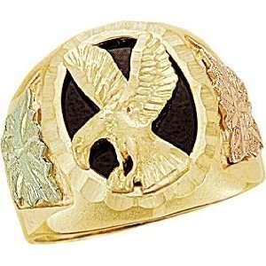Gold Mens Onyx Eagle Ring (16x12MM) Landstroms Black Hills Gold