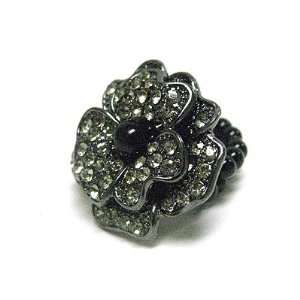 Grey Crystal and Black Faux Pearl Large Flower Stretch Ring Jewelry