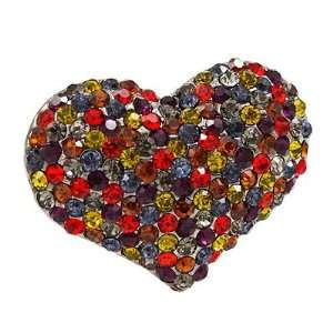 Pave Beautiful Heart Stretch Adjustable Ring Valentine Hematite Multi