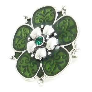 silvertone adjustable Flower ring   35mm diameter   Green Jewelry