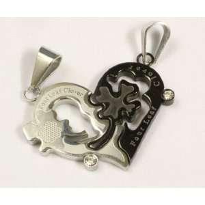 Steel Necklace Black & Silver Pendant Love Heart Shape Four Leaf Lover