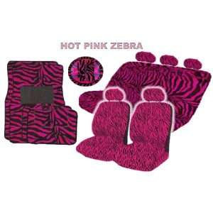 18 Pieces Hot Pink Zebra Low Back Seat Covers Bench Seat with 3 Head