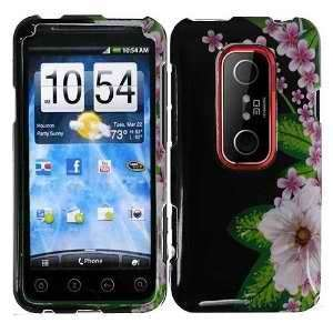 HTC EVO 3D (Sprint) Black Green Pink Flower Premium Snap On Phone