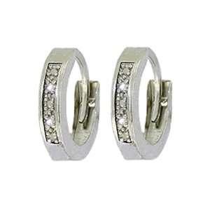 14k Gold Hoop Huggie Earrings with Genuine Round Diamonds Jewelry