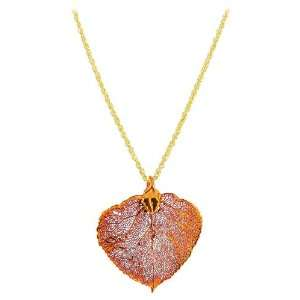 Copper Plated Real Aspen Leaf Pendant Necklace Chain 18 inch Jewelry