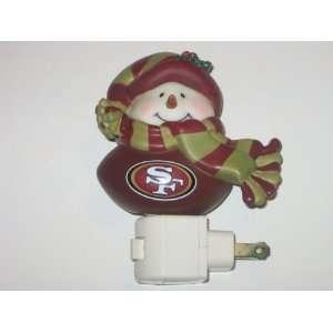 SAN FRANCISCO 49ERS Team Logo Christmas Touchdown Snowman Night Light