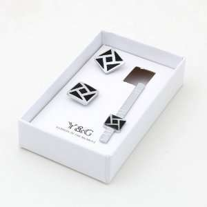 Square Cufflinks Tie Bar Set With Free Gift Box mens style Y&G CB2003