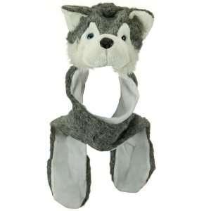 Husky Plush Animal Hat / Scarf / Mittens   Grey Husky