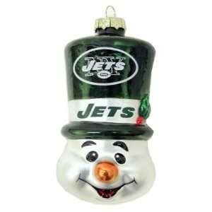 New York Jets NFL Top Hat Snowman Glass Ornament Sports