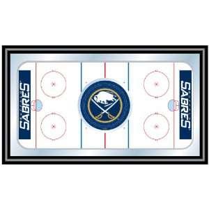 NHL Buffalo Sabres Framed Hockey Rink Mirror Patio, Lawn