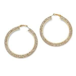 14k Gold Plated Multi Crystal Hoop Pierced Earrings Jewelry