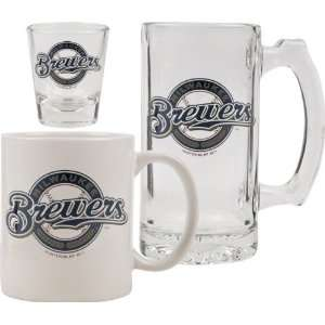 Milwaukee Brewers Glassware Set: 3D Logo Tankard, Coffee Mug, Shot