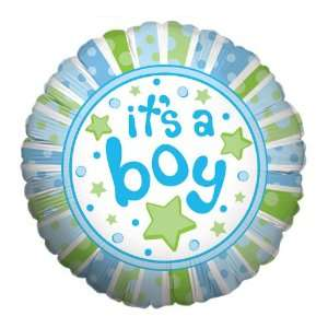BOY Dots & Stars Large 18 ROUND Mylar Foil Balloon   Baby BOY Shower