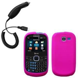 Hot Pink Silicone Skin / Case / Cover & Car Charger for