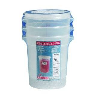 Cambro RFS4PPSW3190 4 Quart Round Food Storage Container with Lid, Set