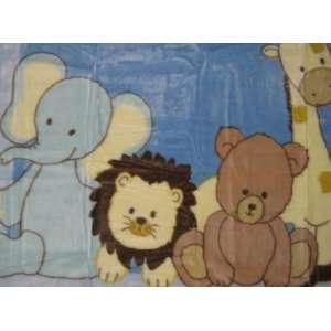 Fluffy Friends Plush Baby Blanket   Elephant, Lion, Bear