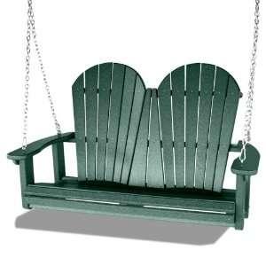 Outdoor Recycled Plastic Adirondack Swing, Green Patio, Lawn & Garden