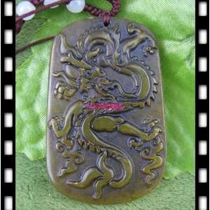 Jade Carved Dragon POWER Amulet PENDANT [with Special String Necklace