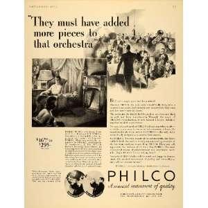 1932 Ad Philco Electric Radio Model 15X Orchestra Music
