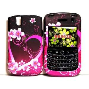 Red Pink Flower Heart Rubberized Snap on Hard Skin Cover