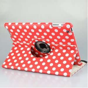 Red and White Polka Dot Pattern PU Leather Case For iPad 3