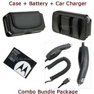 For Motorola A455 Rival Case + OEM BT50 Battery + Car Charger Combo