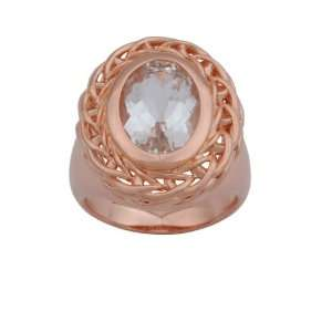 Rose Gold Plated Sterling Silver White Topaz Filigree Oval Ring, Size