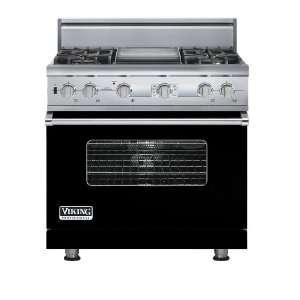 Black 36 Custom Sealed Burner Dual Fuel Electronic Control Range