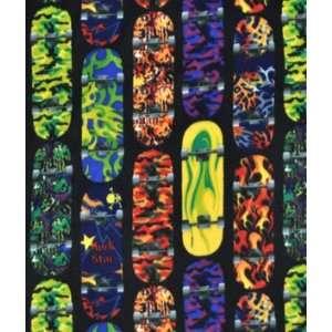 Multi Skateboards Fleece Fabric: Arts, Crafts & Sewing