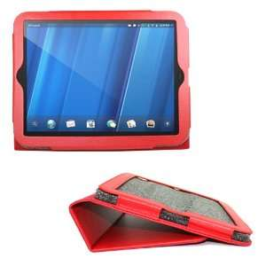 com Red Portfolio Leather Case Cover Skin with Stand for HP TouchPad