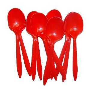 Red Plastic Spoons Kitchen & Dining