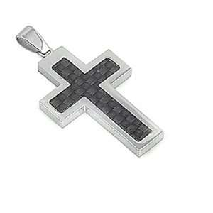 Stainless Steel High Polish Cross Pendant / Necklace With Black Carbon